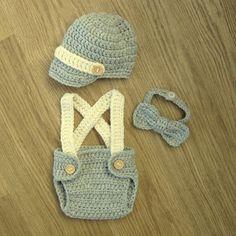 Cute Little Man Crochet NEWSBOY hat BOWTIE bow tie SUSPENDERS Braces and Nappy Diaper Cover, Photo Prop Newborn 0-3 months sizes & colours via Etsy