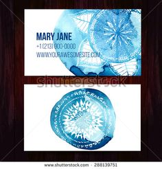 Set of two creative business card templates with artistic vector design. Blue watercolor paint strokes with round ethnic hand drawn ornament