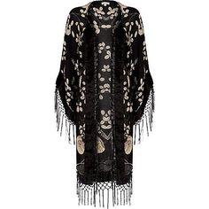 Black floral fringed kimono - kimonos - coats / jackets - women