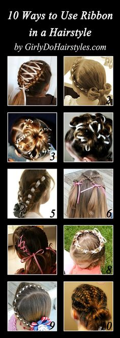 10 ways to use ribbon in a hairstyle http://www.girlydohairstyles.com/2012/08/10-styles-with-added-ribbon.html