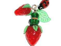 1 pc. Murano Glass Strawberry Bottle Pendant necklace perfume oil aromatherapy charm Findings
