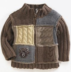 "Photo from album ""D-sp-Jackets with knitting needles (Jackets, cardigans, blouses with knitting needles)"" on Yandex. Knit Baby Sweaters, Boys Sweaters, Baby Boy Knitting, Knitting For Kids, Kids Knitting Patterns, Crochet For Boys, Baby Cardigan, Crochet Fashion, Knitting Needles"