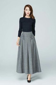 Love the look - fitted tucked in shirt with full midi-skirt; try something similar with my navy skirt