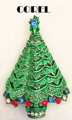 Corel Division of Coro Rhinestone Christmas Tree Pin Brooch Signed Book Piece! Christmas Tree Dress, Jewelry Christmas Tree, Jewelry Tree, Christmas Nativity, Christmas Love, Xmas Tree, Christmas Ornaments, Contemporary Christmas Trees, Creative Christmas Trees