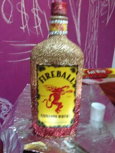 Fireball all glittery. i would choose a red blue and gold 20th Birthday, It's Your Birthday, Birthday Bash, Birthday Party Themes, Birthday Gifts, Birthday Ideas, Vodka Bottle, Alcohol Basket, Crystals
