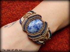 Handmade macrame bracelet with Sodalite magical stone/Ethnic Jewelry/Yoga Jewelry/Tribal macrame/Festival bracelet/Boho chic jewelry/