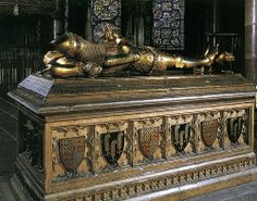 Edward Plantagenet, Prince of Wales, Duke of Cornwall, Prince of Aquitaine, KG (15 Jun 1330 – 8 Jun 1376) son of Edward III, King of England. Buried in Canterbury Cathedral, Kent. Buried on the south side of the shrine of Thomas Becket behind the Choir.
