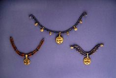 From the Royal Tombs of Ur.  Some Sumerian necklaces are very ornate.
