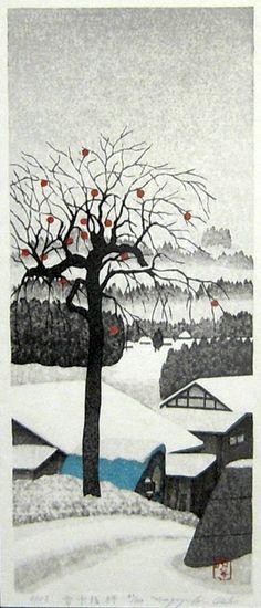 (Japan) 雪中残柿 会津 Remaining Persimmons in Snow by Kazuyuki Ohtsu (1935~  ). woodblock print.
