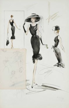 Edith Head resketch of Givenchy design. He was given full screen credit six years later with Head listed as Costume Supervisor(!). She took home an Oscar knowing the key iconic costumes were not her own designs. Oh dear.