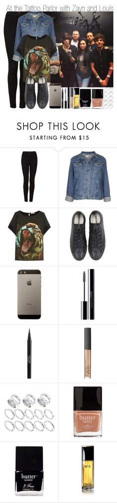 """At the Tattoo Parlor with Louis and Zayn"" by elise-22 ❤ liked on Polyvore featuring Topshop, Emma Cook, Converse, shu uemura, Stila, NARS Cosmetics, ASOS, Butter London and Chanel"