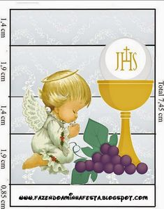 First Communion Free Printable Candy Bar Labels in Silver with Precious Moments Angels. First Communion Decorations, First Communion Favors, First Communion Invitations, First Holy Communion, Personalized Wine Bottles, Personalized Candy, Personalized Chocolate, Candy Bar Wrapper Template, Candy Bar Labels