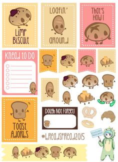 #breadspread themed weekly kit contains 22 stickers. These are sized to fit a vertical Erin Condren Life planner.  By default, my sticker