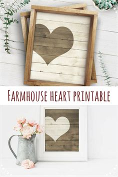 Farmhouse heart printable decor. Perfect Valentine's Day decoration, it can be used all year long. One of the prints has a dark rustic wood plank background with a light rustic wood-textured heart, the other print is the reverse with a light rustic wood plank background with a dark rustic wooden heart. #ad #heartdecor #printable #rustic #farmhouse #homedecor #valentinesdaydecor #instantdownload
