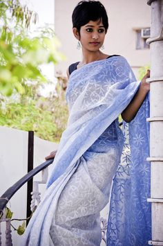 Cotton Kota with famous chikan thread embroidery all over...in shades of icy blue and deep blue...assured to keep you cool :-)