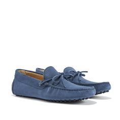 Driving Shoes in Blue suede with exposed hand-made stitching, hot-stamped M' and resistant studded black rubber outsole. Made in Portugal