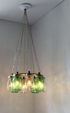 Green Mason Jar Chandelier