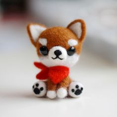 Handmade Needle felted felting animal cute dog Chihuahua felted wool d | Feltify