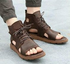 Mens gladiator Sandals High Top Leather Lace Up Roman sandals clip toe Shoes Leather Gladiator Sandals, Brown Leather Sandals, Leather And Lace, Leather Slippers For Men, Mens Slippers, Roman Sandals, Male Fashion Trends, Open Toe Shoes, How To Make Shoes