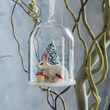 Winter Rabbit Dome Bauble