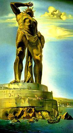 Salvador Dali >> Le Colosse de Rhodes  |  (huile, reproduction, copie, tableau, oeuvre, peinture).