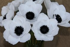 Paper Anemone Flowers   Six White Anemone flowers by FlowerBazaar, $36.00