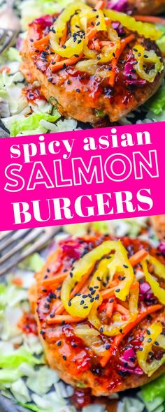 Easy Grilled Sweet Chili Asian Salmon Burgers Recipe Easy Grilled Sweet Chili Asian Salmon Burgers R Salmon Burger Toppings, Healthy Salmon Burgers, Burger Recipes, Fish Recipes, Seafood Recipes, Cooking Recipes, Seafood Dishes, Asian Salmon, Spicy Salmon