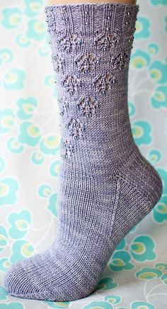 Dewdrops Socks, with beads. pretty pattern distribution.
