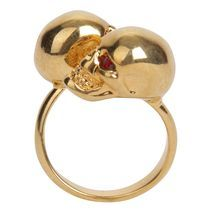 Gold/Red Crystal Twin Skull Ring - Alexander McQueen