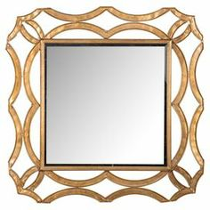 """Gold-finished wall mirror with an openwork metal frame.   Product: Wall mirrorConstruction Material: Metal and mirrored glassColor: GoldDimensions: 34.5"""" H x 34.5"""" W x 1"""" D"""