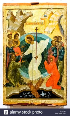 It's not called Easter, it's Pascha meaning Passover! Christ is fulfillment of Jewish Passover. Icon of Descent of our Lord into Hades Religious Icons, Religious Art, Religious Education, Black Jesus, Christ Is Risen, Jesus Christ, Russian Icons, Religious Paintings, Byzantine Icons