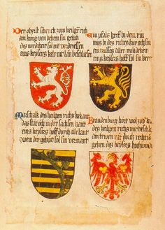 The four secular electorates of the Holy Roman Empire: The Kingdom of Bohemia, the County Palatine of the Rhine, the Duchy of Saxony and the Margraviate of Brandenburg - from the Ingeram Codex, 1459 - Kunsthistorisches Museum, Vienna. Via http://deutschemark.tumblr.com/