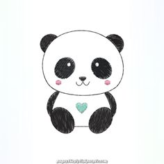 a cute panda Cute Animal Drawings, Kawaii Drawings, Easy Drawings, Cute Panda Wallpaper, Bear Wallpaper, Panda Wallpapers, Cute Wallpapers, Panda Drawing Easy, How To Draw Panda
