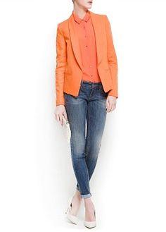 MANGO - CLOTHING - Jackets - Linen cotton-blend tuxedo blazer- 59.95