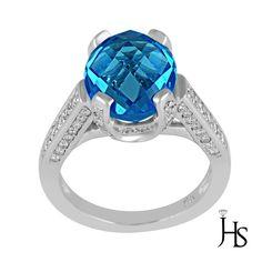 14K White Gold Round Diamond With Oval Shape Swiss Blue Topaz Ring - JHS #WomensGemStoneRingJewelryHotspot