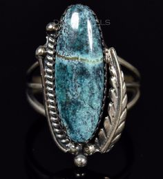 Old Pawn Vintage Navajo Spiderweb Turquoise & Sterling Ring SZ 7 Circle JW