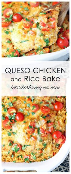 Queso Chicken and Rice Bake Recipe: Chicken breasts and rice are smothered in a Tex-Mex seasoned queso sauce, then topped off with fresh chopped tomatoes in this comfort food casserole the whole family will love! #chicken #queso