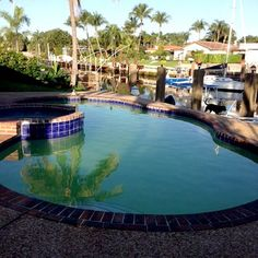 Backyard pool with canal view