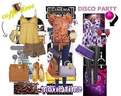 """three outfit for coffe,cinema and Disco"" by anamariabarbozamachado on Polyvore"