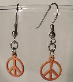 Earrings Small Orange Metal Peace Symbol Dangles. by CindyDidIt, $5.50