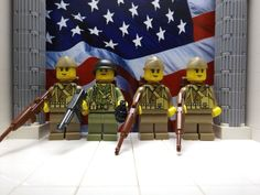 LEGO 4x WWII Americans: 1x 517th Para. Inf. Regt 3x 29th Inf. Div. Soldiers 1942 #LEGO