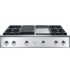 Gas cooktop with 4 burners, grill section AND flat top section.