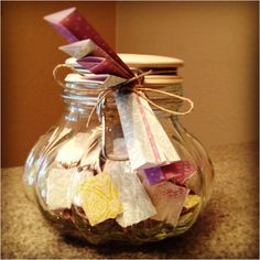 Mother's Day Memory Jar ~ On each piece of paper is a memory written down. Use fancy scrapbook paper that is decorative on one side but white on the other. Than fold the pieces of paper up and put in a jar.