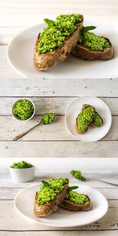 Green pea pesto - recipe - Daily Gourmet. Green pea pesto with fresh mint, garlic and olive oil. Tastes great on toasted wholemeal bread but can also be served with pasta as a traditional, basil pesto replacement.