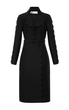Shop Scallop Coat With Open Collar by Valentino Now Available on Moda Operandi