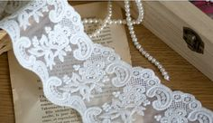 Vintage Style Lace Trim White Cotton Embroidery by Lacebeauty