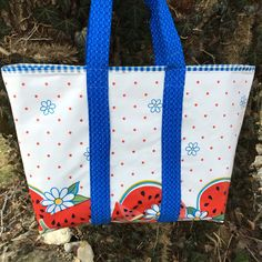 A taste of summer--- large oilcloth tote bag with watermelons and daisies