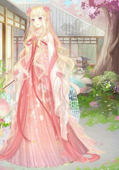What a beautiful scenenery and a princess who can enjoy the peacefulness and beautifulness