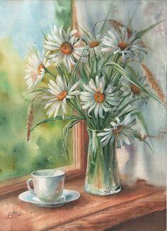 Купить Ромашки - оливковый, ромашки, натюрморт с цветами, летний, летнее настроение, акварель, акварель
