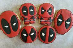 Deadpool Theme, Deadpool Cake, Deadpool Symbol, Cookies For Kids, Cute Cookies, Cupcake Cookies, Sugar Cookies, Superhero Cookies, Superhero Party
